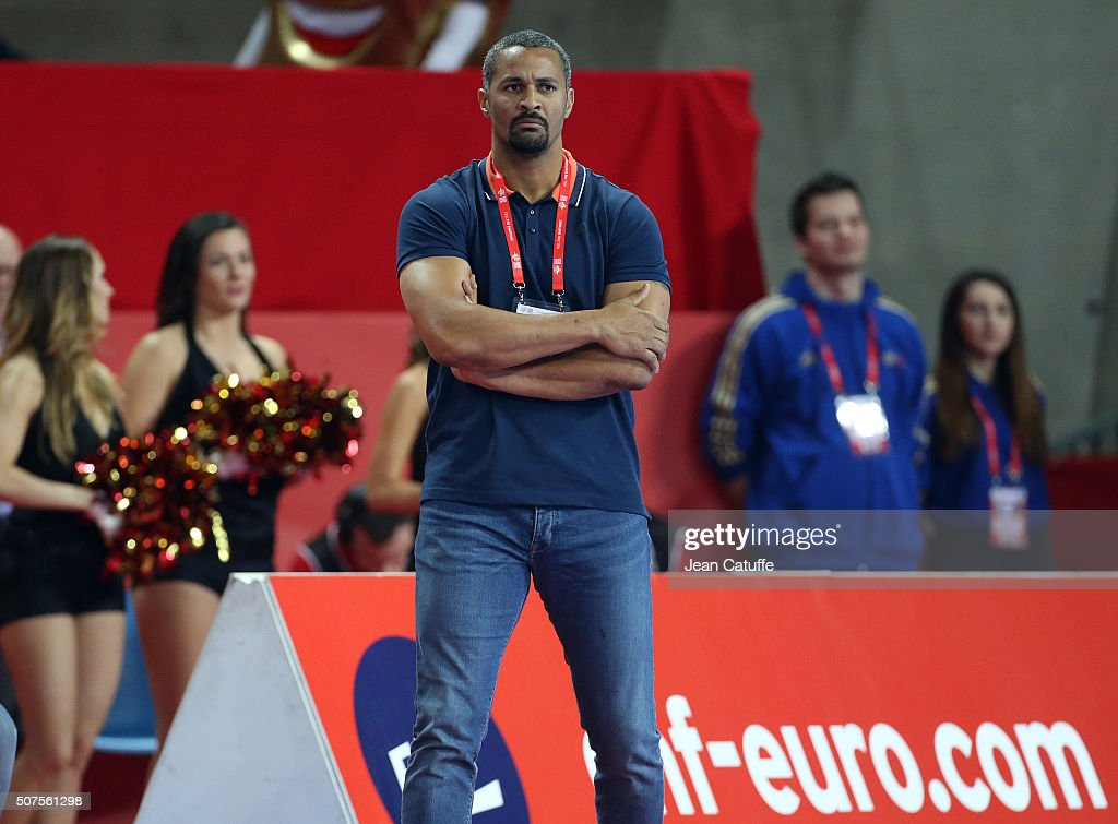 Assistant-coach of France <a gi-track='captionPersonalityLinkClicked' href=/galleries/search?phrase=Didier+Dinart&family=editorial&specificpeople=710241 ng-click='$event.stopPropagation()'>Didier Dinart</a> looks on during the Men's EHF European Handball Championship 2016 between France and Denmark at Centennial Hall on January 29, 2016 in Wroclaw, Poland.
