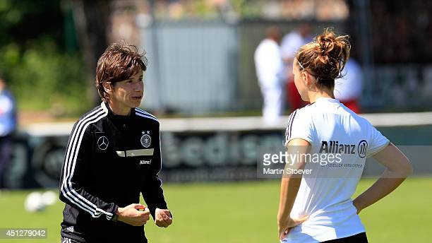 Assistent Coach Bettina Wiegmann of U20 Women's Germany reacts during the match between U20 Women's Germany v U20 Women's Denmark at Kilia Platz on...