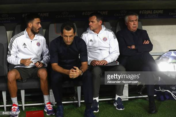 Assistent coach Davide Ancelotti sporting director Hasan Salihamidzic assistent coach Willy Sagnol and Carlo Ancelotti head coach of Muenchen look on...