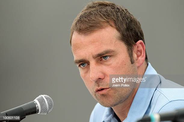 Assistent coach Hans Dieter Flick of Germany speaks to the media during a press conference at Sportzone Rungg on May 25 2010 in Appiano sulla Strada...