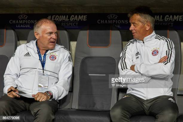 Assistent coach Hermann Gerland of Bayern Muenchen and Assistent coach Peter Hermann of Bayern Muenchen looks on during the UEFA Champions League...