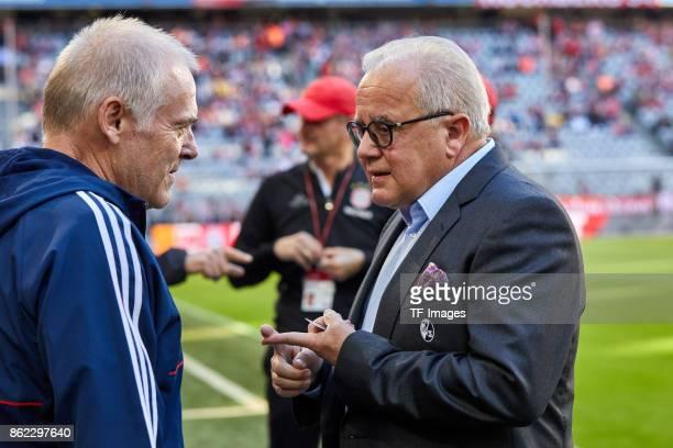 Assistent coach Hermann Gerland of Bayern Muenchen speak with Fritz Keller of Freiburg during the Bundesliga soccer match between FC Bayern Munich...