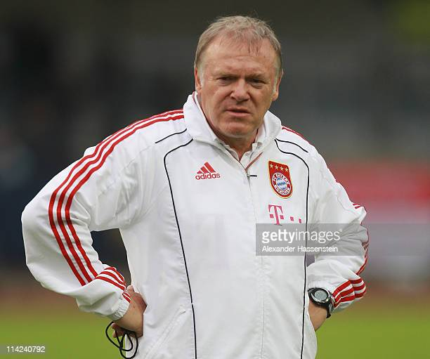 Assistent coach Hermann Gerland of Muenchen looks on prior the friendly match between FC Bayern Muenchen and Team Paulaner at Wacker Arena on May 16...