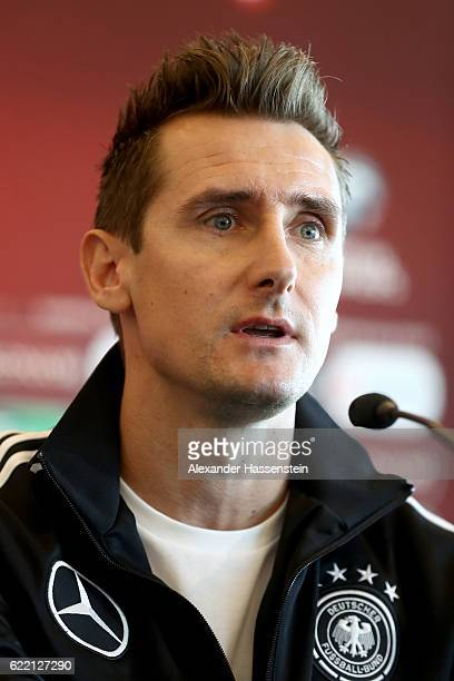 Assistent coach Miroslav Klose talks to the media during a press conference of the German national team ahead of the FIFA 2018 World Cup qualifying...