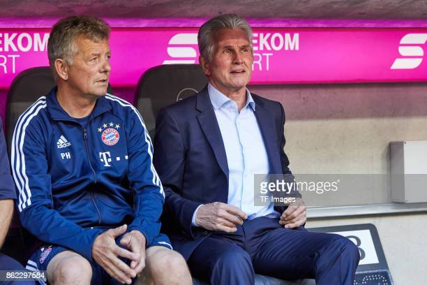 Assistent coach Peter Hermann of Bayern Muenchen and Head coach Jupp Heynckes of Bayern Muenchen looks on during the Bundesliga soccer match between...