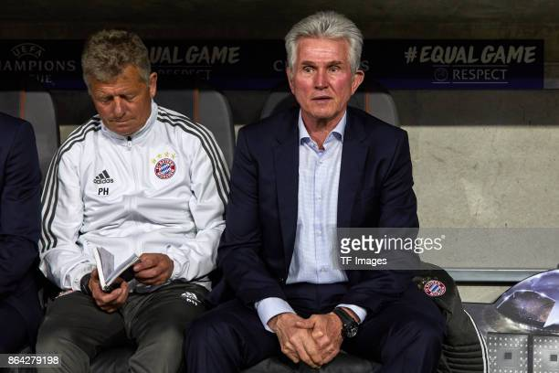 Assistent coach Peter Hermann of Bayern Muenchen and Head coach Jupp Heynckes of Bayern Muenchen looks on during the UEFA Champions League group B...