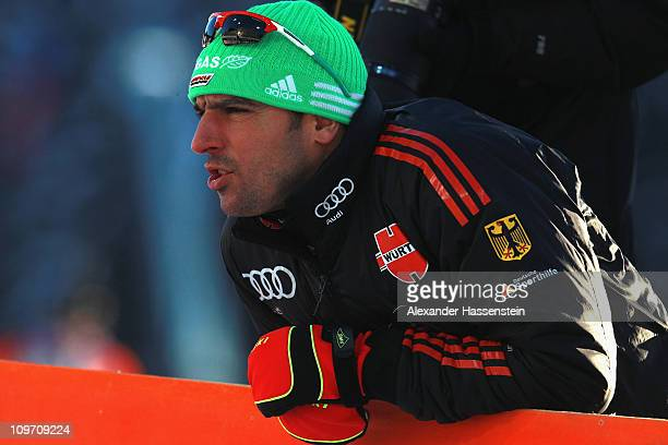 Assistent coach Ricco Gross of Germany looks on during a training session at AV Philipenko winter sports centre on March 2 2011 in KhantyMansiysk...