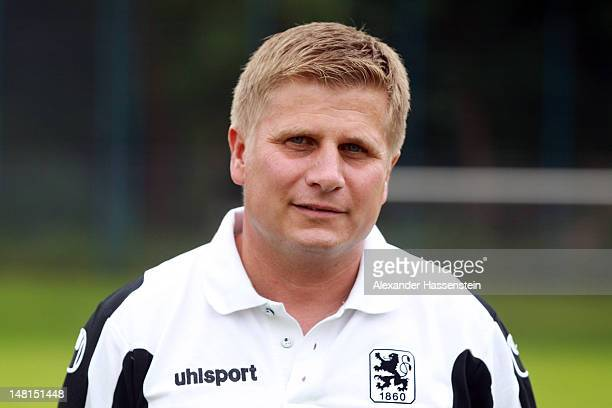 Assistent coach Wolfgang Schellenberg of 1860 Muenchen poses during the Second Bundesliga team presentation of TSV 1860 Muenchen on July 11 2012 in...