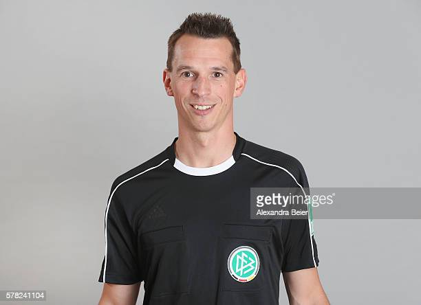 Assistent referee Christian Bandurski poses during the DFB referee team presentation on July 13 2016 in Grassau Germany