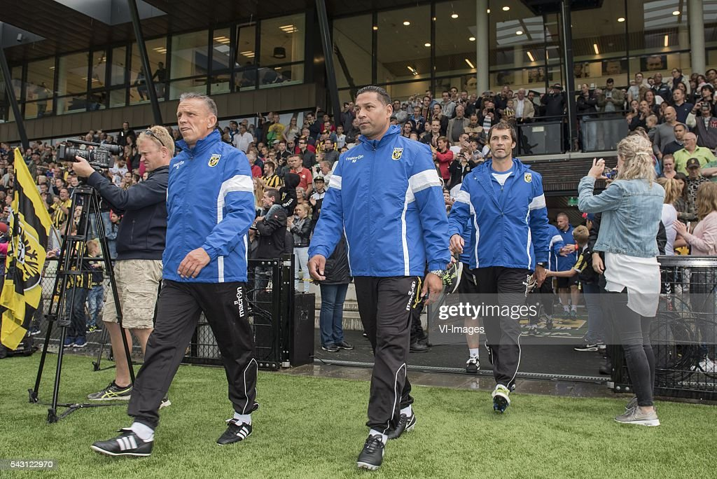 assistent trainer Edward Sturing of Vitesse, coach Henk Fraser of Vitesse, goalkeepertrainer Raymond van der Gouw of Vitesse during the first training session of the season 2016/2017 on June 26, 2016 at Papendal, The Netherlands