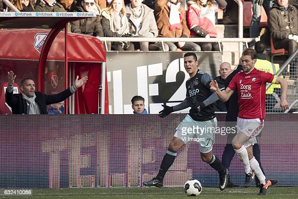 assistent trainer Hendrie Kruzen of Ajax Anwar el Ghazi of Ajax Willem Janssen of FC Utrechtduring the Dutch Eredivisie match between FC Utrecht and...