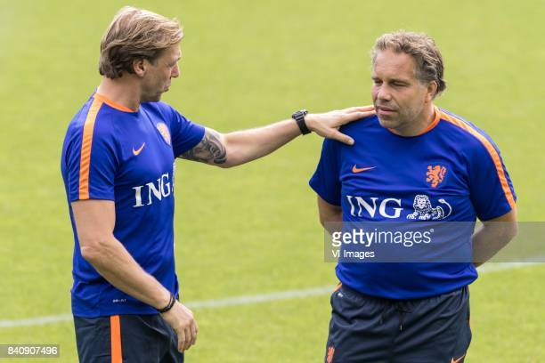 assistent trainer Paul Bosvelt of Netherlands U21 coach Art Langeler of Netherlands U21 during the training session of Netherlads U21 at the KNVB...