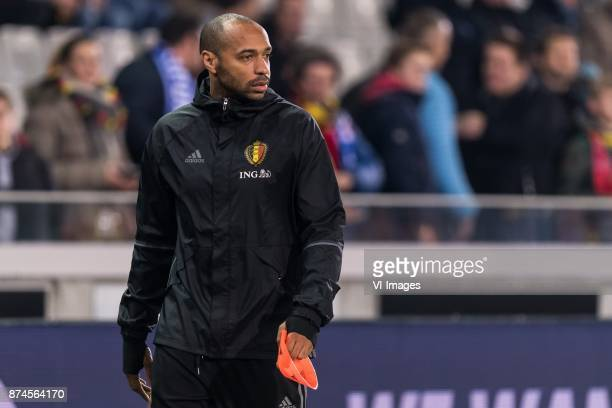 assistent trainer Thierry Henry of Belgium during the friendly match between Belgium and Japan on November 14 2017 at the Jan Breydel stadium in...