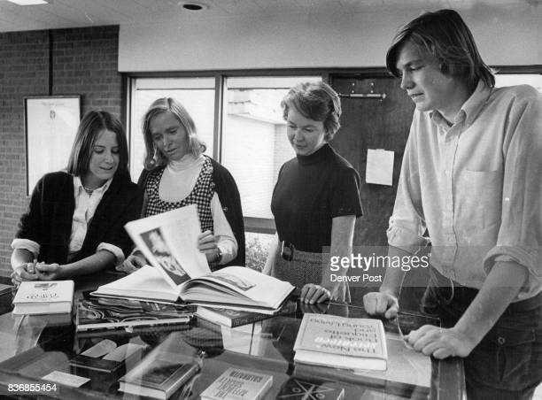 Assisting in preChristmas book event will be from left Anne Stockmar Mrs Esdras Hartley Mrs F Wallace Gage and Peter Baur Credit Denver Post