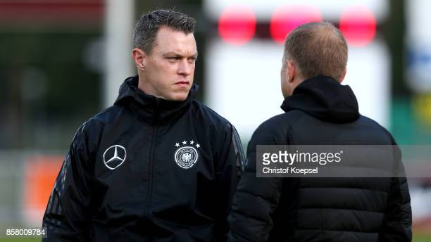 Assistnt coach Hanno Balitsch and head coach Frank Kramer of Germany seen prior to the International friendly match between U20 Netherlands and U20...