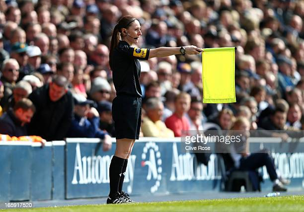 Assitant Referee Sian Massey in action during the Barclays Premier League match between Tottenham Hotspur and Everton at White Hart Lane on April 7...