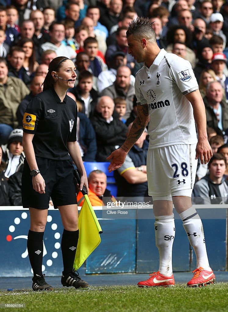 Assitant Referee Sian Massey speaks to Kyle Walker of Tottenham Hotspur during the Barclays Premier League match between Tottenham Hotspur and Everton at White Hart Lane on April 7, 2013 in London, England.