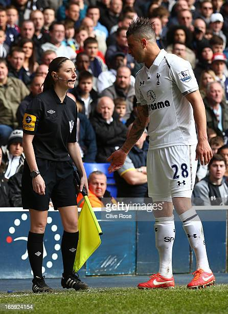 Assitant Referee Sian Massey speaks to Kyle Walker of Tottenham Hotspur during the Barclays Premier League match between Tottenham Hotspur and...
