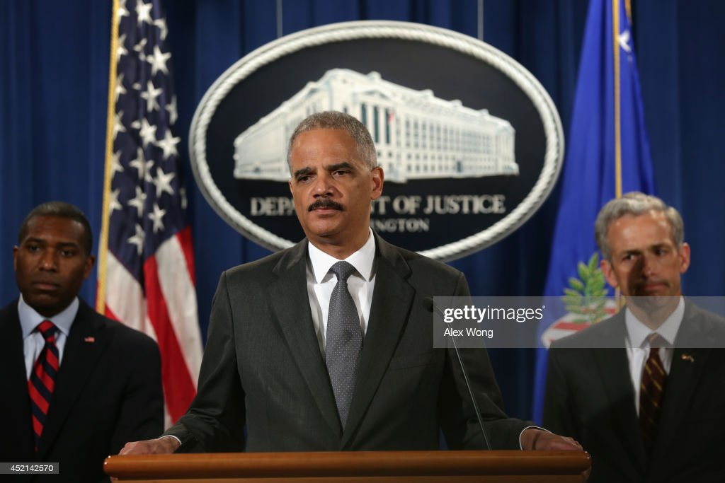 U.S. Associate Attorney General Tony West (2nd L), U.S. Attorney General <a gi-track='captionPersonalityLinkClicked' href=/galleries/search?phrase=Eric+Holder&family=editorial&specificpeople=1060367 ng-click='$event.stopPropagation()'>Eric Holder</a>, and U.S. Attorney for the District of Colorado John Walsh listen during a news conference for a major financial fraud announcement at the Justice Department July 14, 2014 in Washington, DC. Citigroup has agreed to pay the government $7 billion in fines for its misleading investors about some of the mortgage-backed securities sold prior to January 1, 2009.