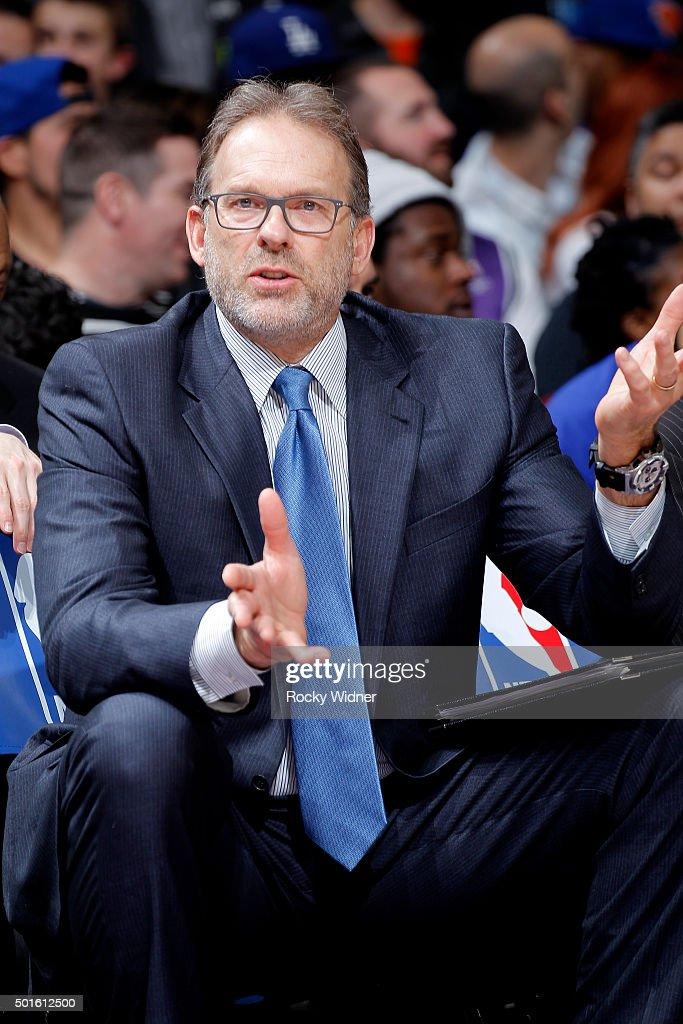 Associate coach Kurt Rambis of the New York Knicks coaches against the Sacramento Kings on December 10 2015 at Sleep Train Arena in Sacramento...