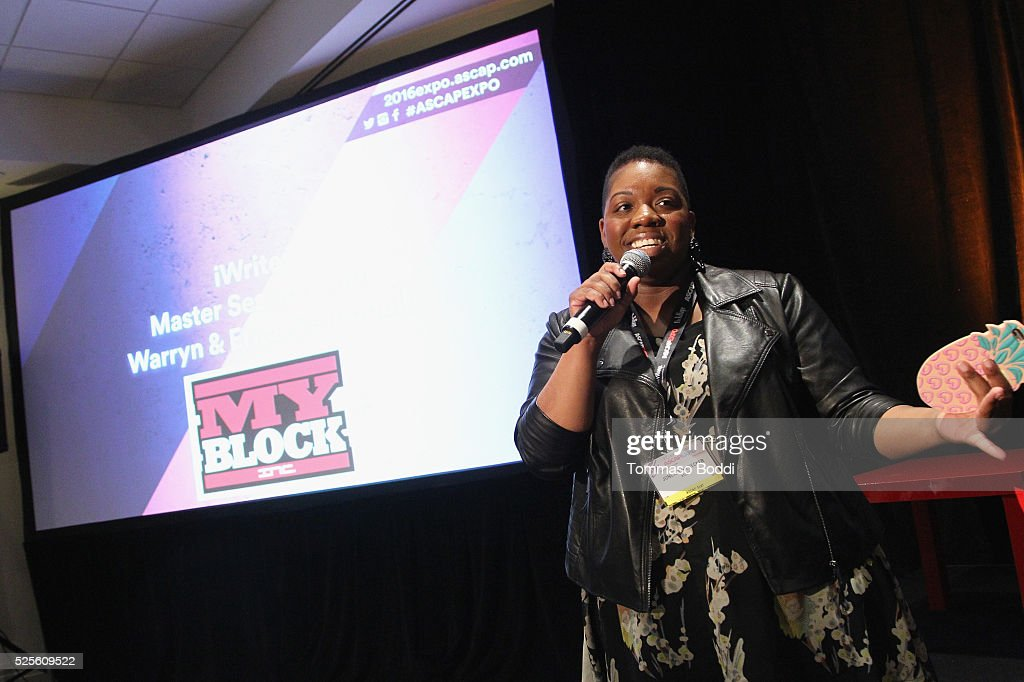Associate Director for the Rhythm and Soul Department Joncier Rienecker speaks onstage during the iWrite: Master Session with Erica Campbell and Warryn Campbell during the 2016 ASCAP 'I Create Music' EXPO on April 28, 2016 in Los Angeles, California.