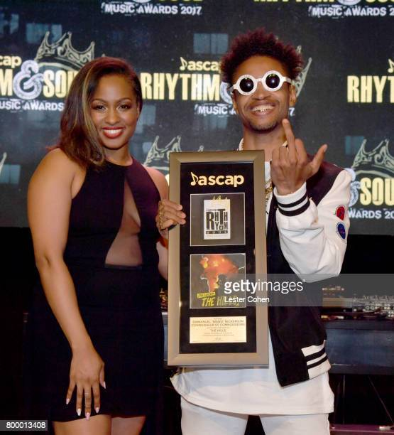 Associate Director Moya Nkruma and Emmanuel Mano Nickerson pose with award at the ASCAP 2017 Rhythm Soul Music Awards at the Beverly Wilshire Four...