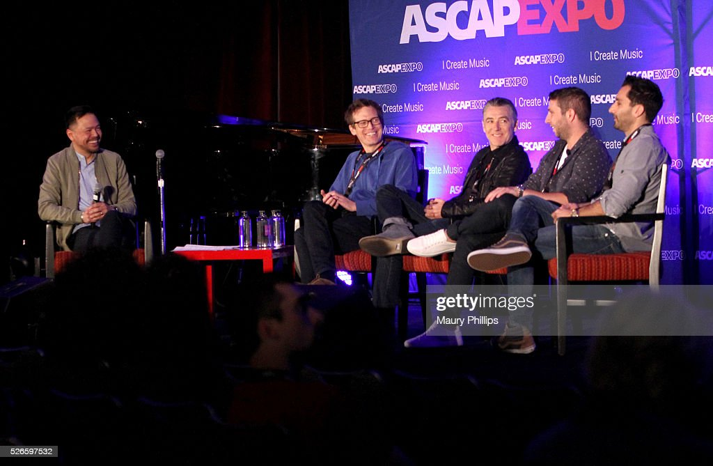 Associate Director, Pop/Rock Membership, Ed Reyes and musicians Xandy Berry, Wally Gagel, Alex Schwartz and Joe Khajadourian speak onstage during the 'Art of Collaboration' panel, part of the 2016 ASCAP 'I Create Music' EXPO on April 30, 2016 in Los Angeles, California.