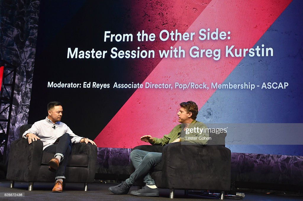 Associate Director Pop/Rock Membership Ed Reyes (L) moderates a master session with songwriter <a gi-track='captionPersonalityLinkClicked' href=/galleries/search?phrase=Greg+Kurstin&family=editorial&specificpeople=4148506 ng-click='$event.stopPropagation()'>Greg Kurstin</a> onstage during the 2016 ASCAP 'I Create Music' EXPO on April 28, 2016 in Los Angeles, California.