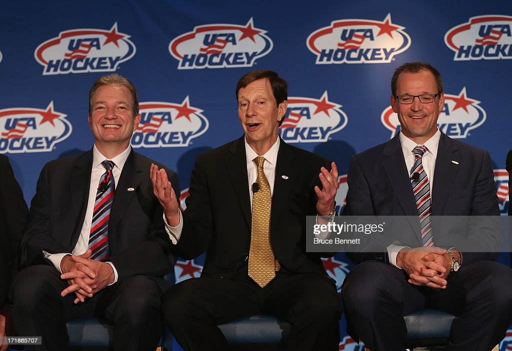 Associate general manager Ray Shero, general manager David Poile and head coach Dan Bylsma of the 2014 Men's Olympic Hockey Team speak with the media at the Marriott Marquis Hotel on June 29, 2013 in New York City.