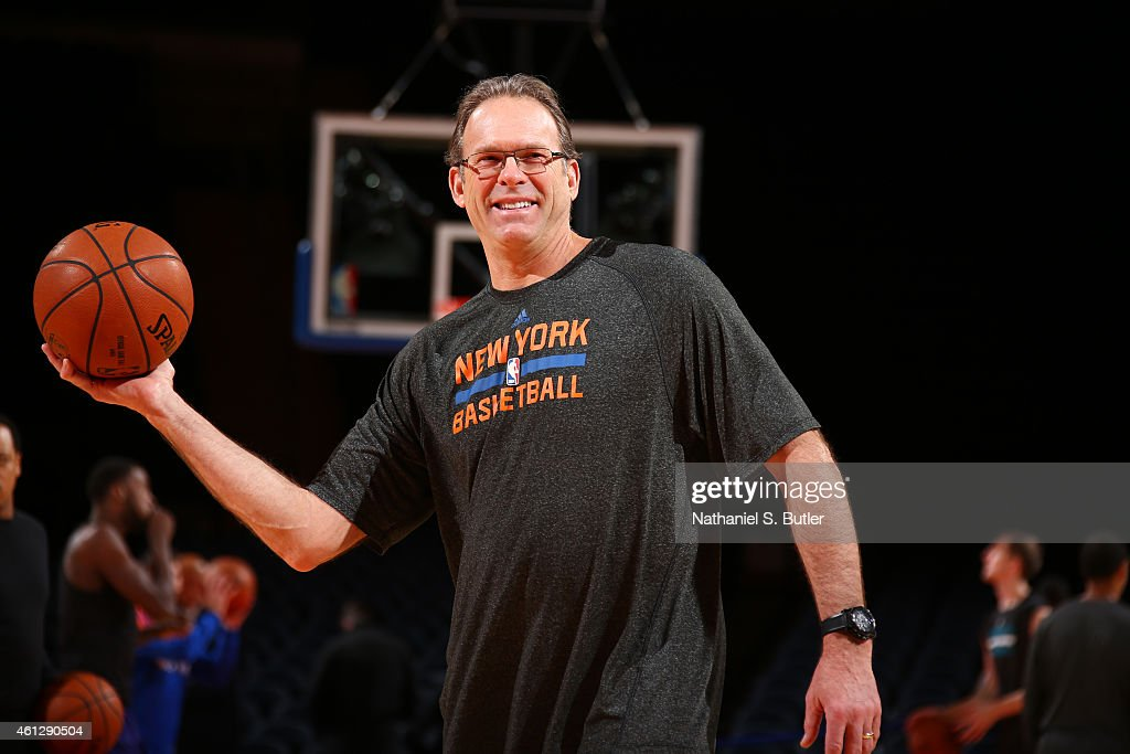 Associate head coach Kurt Rambis of the New York Knicks before the game against the Charlotte Hornets on January 10 2015 at Madison Square Garden in...