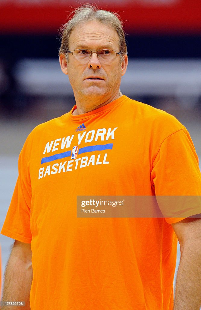 Associate head coach Kurt Rambis of the New York Knicks looks on prior to a preseason game against the Philadelphia 76ers at the Carrier Dome on...