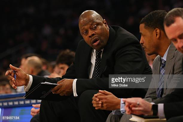 Associate Head Coach Patrick Ewing looks on against the New York Knicks at Madison Square Garden on April 6 2016 in New York City NOTE TO USER user...