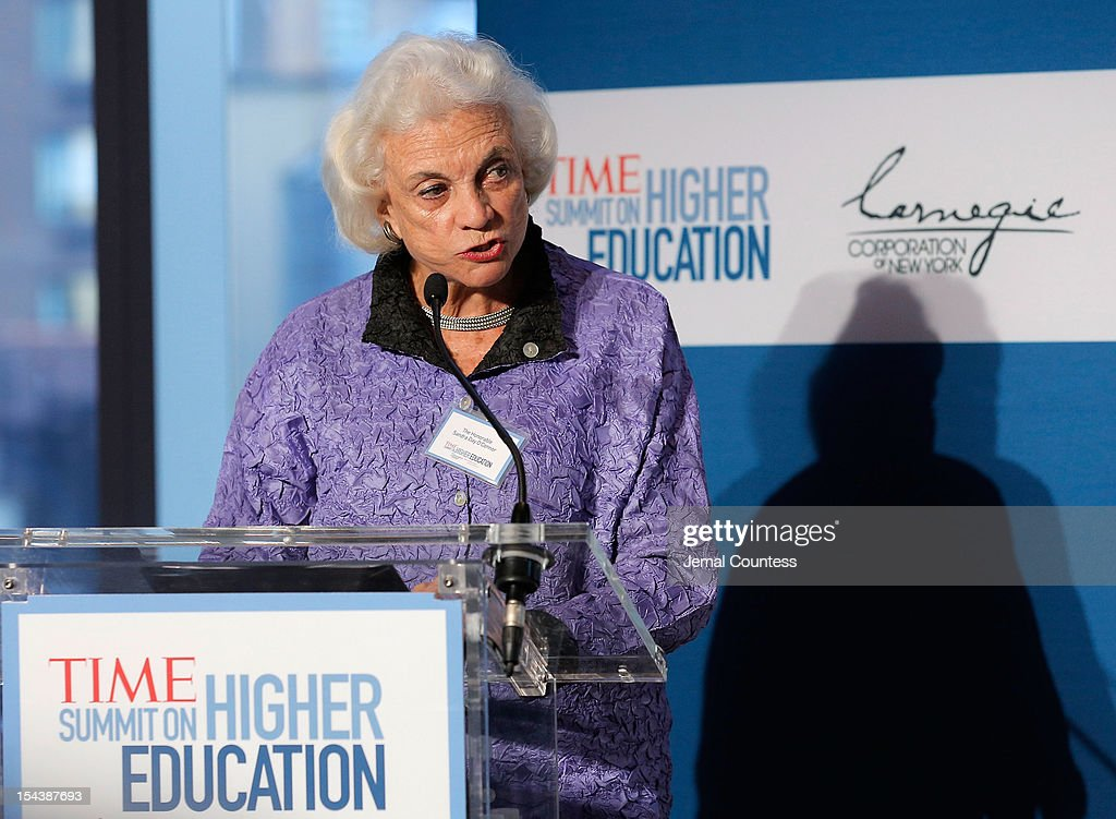 Associate Justice of the Supreme Court of the United States (Ret.) Sandra Day O' Conner addresses the audience during the TIME Summit On Higher Education on October 18, 2012 in New York City.