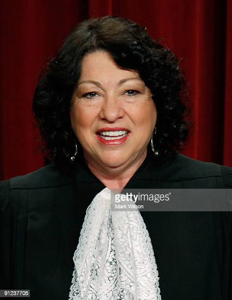 Associate Justice Sonia Sotomayor poses for a group photograph at the Supreme Court building on September 29 2009 in Washington DC The high court...