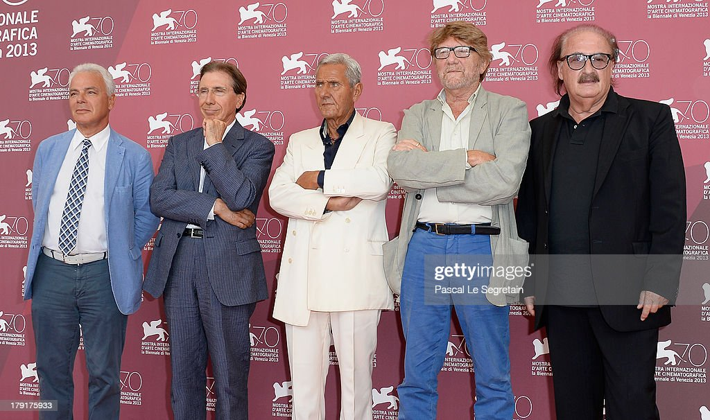 Associate producer Francesco Colonna, executive producer Bruno Benetti, actor Enzo Staiola director and producer Gianni Bozzacchi and music composer Pino Donaggio attend the 'Non Eravamo Solo... Ladri Di Biciclette' Photocall during the 70th Venice International Film Festival at the Palazzo del Casino on September 1, 2013 in Venice, Italy.