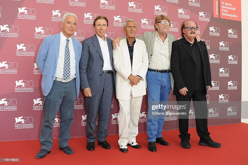 Associate producer Francesco Colonna, producer Bruno Benetti, actor Enzo Staiola, director Gianni Bozzacchi and composer Pino Staiola attend 'Non Eravamo Solo... Ladri di Biciclette. Il Neorealismo' Premiere during the 70th Venice International Film Festival at Sala Perla on September 1, 2013 in Venice, Italy.