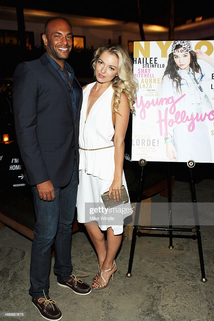 Associate publisher of Nylon magazine Karim Abay (L) and actress Francesca Eastwood attend the Nylon + BCBGeneration May Young Hollywood Party at Hollywood Roosevelt Hotel on May 8, 2014 in Hollywood, California.