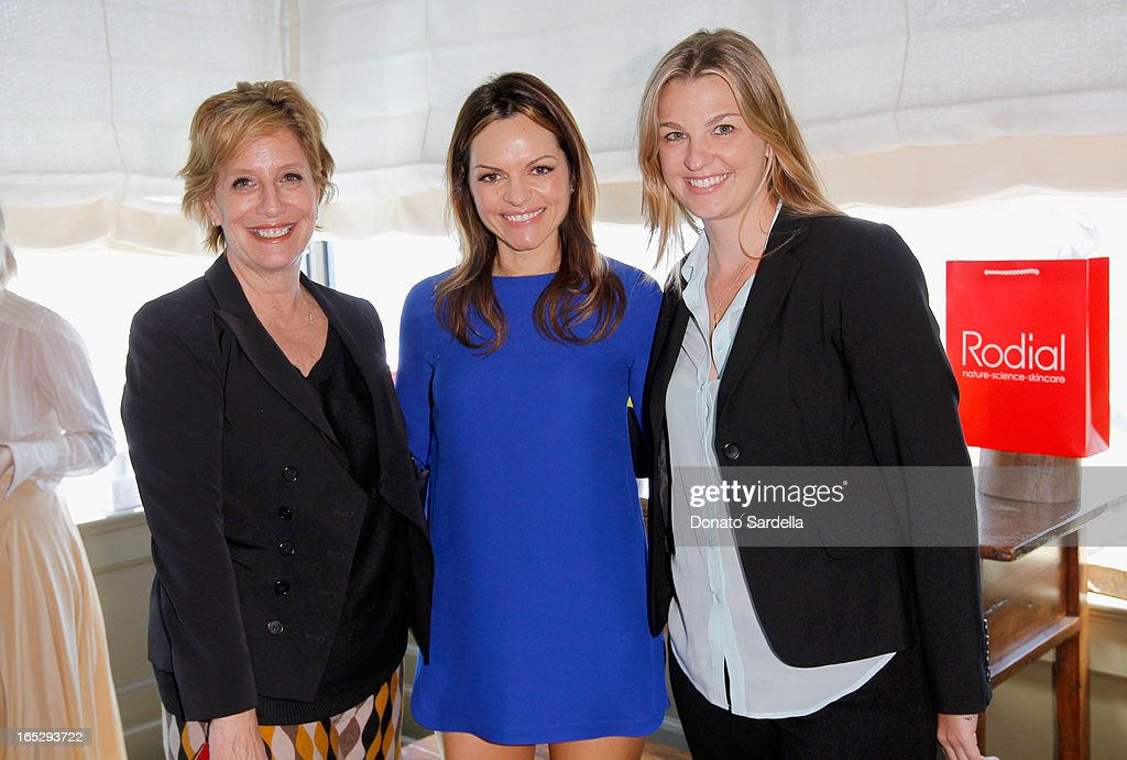 Associate publisher of OK! Magazine Shelley Fariello, founder of Rodial Skincare Maria Hatzistefanis and Jaime Rabb of OK! Magazine attend the Rodial 10th Anniversary Luncheon on April 2, 2013 in West Hollywood, California.
