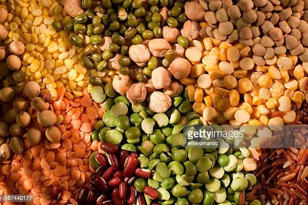 Verschiedenen Bohnen, Erbsen und grain-Hintergrund.