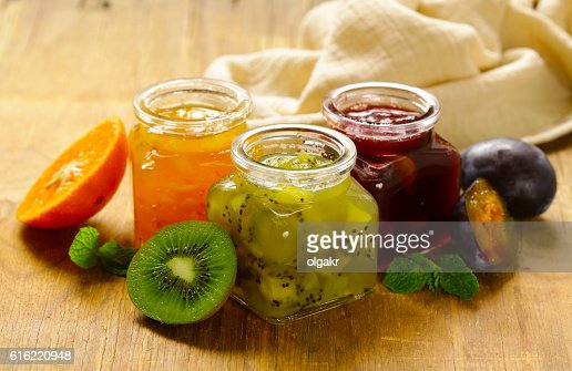 Assorted berries and fruit jams. Homemade canning. : Stockfoto