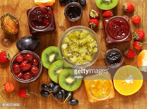 Assorted berries and fruit jams. Homemade canning. : Photo