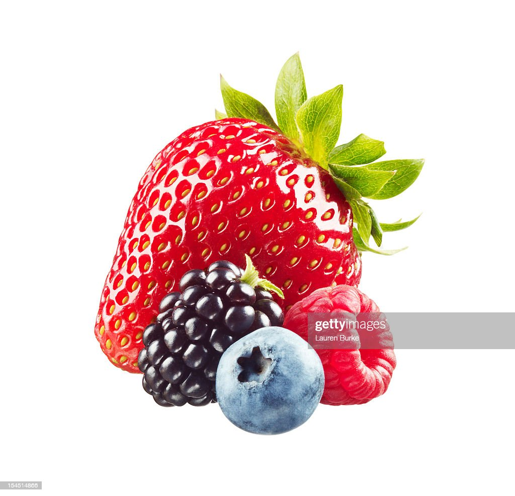 Assorted Berries on White Background