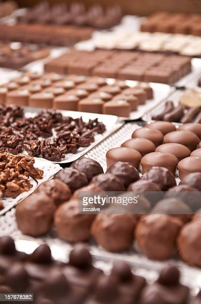 Assorted chocolate pralines in a Swiss confiserie