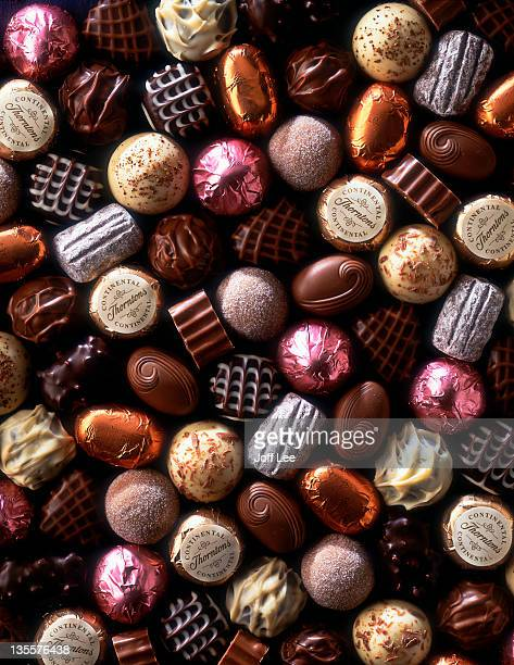 Assorted chocolate sweets - full frame