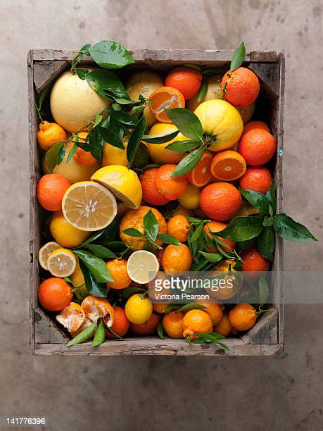 Assorted citrus in a crate.