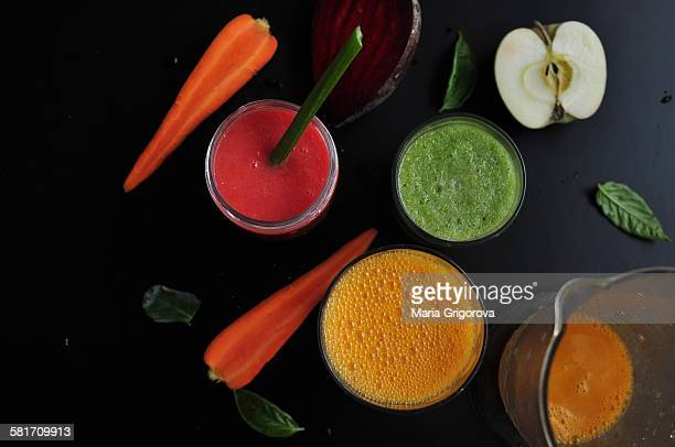 Assorted detox juices
