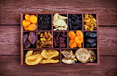Assorted dried fruits in wooden printers box-figs, raisins, date, cranberries, currant, pears, ginger and apricots. Top view.
