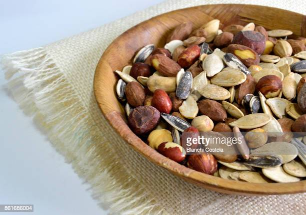 Assorted dry nuts in a bowl