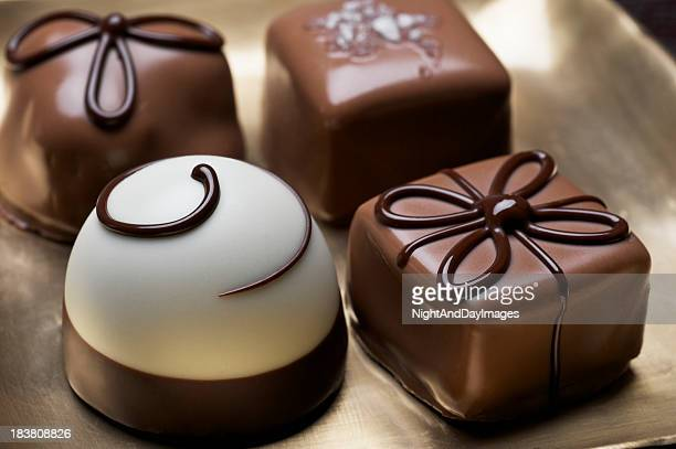 Assorted elegant chocolate truffles