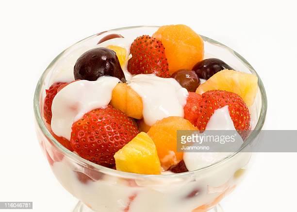 Diversos frutos e lisos Iogurte